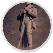 Confederate Statue  Standing Guard Round Beach Towel