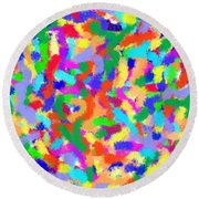 Round Beach Towel featuring the painting Confetti by Denise Fulmer