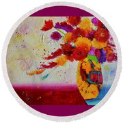 Round Beach Towel featuring the painting Confetti by Nancy Jolley