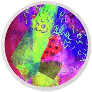 Round Beach Towel featuring the mixed media Confetti by Nancy Merkle