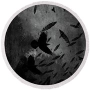 Conflict Of The Crows Bw Round Beach Towel
