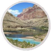 Confluence Of Colorado And Little Colorado Rivers Grand Canyon National Park Round Beach Towel
