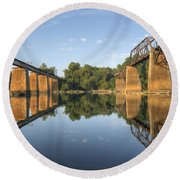 Congaree River Rr Trestles - 1 Round Beach Towel by Charles Hite