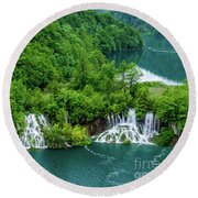 Connected By Waterfalls - Plitvice Lakes National Park, Croatia Round Beach Towel