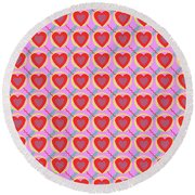 Connected Hearts Pattern Round Beach Towel