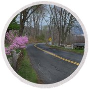 Round Beach Towel featuring the photograph Connecticut Country Road by Bill Wakeley