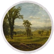 Connecticut River Valley, Claremont, New Hampshire Round Beach Towel
