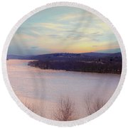 Connecticut River View From Gillette Castle. Round Beach Towel