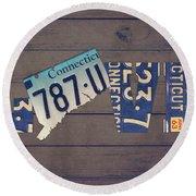 Connecticut State Love License Plate Art Phrase Round Beach Towel