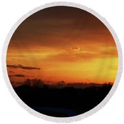 Connecticut Sunset Round Beach Towel by Gordon Mooneyhan