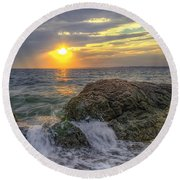 Connecticut Sunset Round Beach Towel