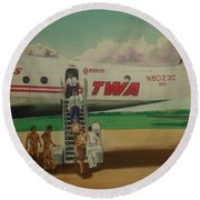 Connie Crew Deplaning At Columbus Round Beach Towel by Frank Hunter