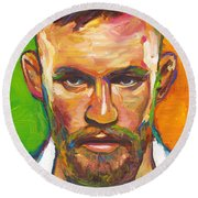 Round Beach Towel featuring the painting Conor Mcgregor by Robert Phelps