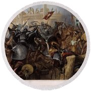 Conquest Of Mexico, 1521 Round Beach Towel
