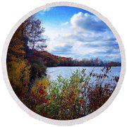 Conservation Park And Pine River In The Fall Round Beach Towel