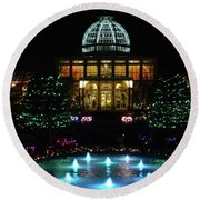 Conservatory At Night Round Beach Towel