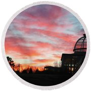 Conservatory At Sunset Round Beach Towel