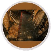 Round Beach Towel featuring the photograph Construction - Hagia Sophia by Jim Vance