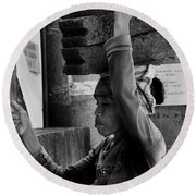 Round Beach Towel featuring the photograph Construction Labourer - Bw by Werner Padarin