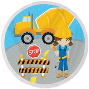 Construction Zone - Concrete Truck Roadwork In Progress Gifts #16 Round Beach Towel