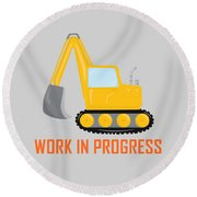 Construction Zone - Excavator Work In Progress Gifts - Grey Background Round Beach Towel