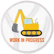 Construction Zone - Excavator Work In Progress Gifts - White Background Round Beach Towel
