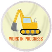 Construction Zone - Excavator Work In Progress Gifts - Yellow Background Round Beach Towel