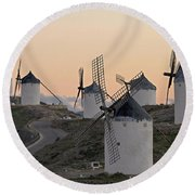 Round Beach Towel featuring the photograph Consuegra Windmills by Heiko Koehrer-Wagner