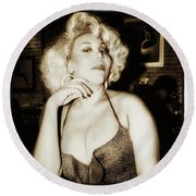 Round Beach Towel featuring the photograph Consuela Del Rio. Drag Mother At The by Mr Photojimsf