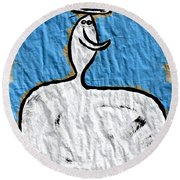 Contemplating My Act Round Beach Towel