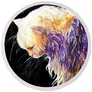Round Beach Towel featuring the painting Contemplation by Sherry Shipley