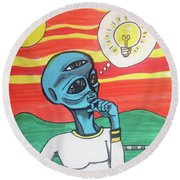 Round Beach Towel featuring the painting Contemplative Alien by Similar Alien