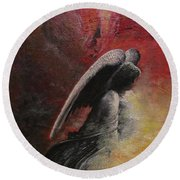 Round Beach Towel featuring the painting Contemplative Angel by Mary Ellen Frazee