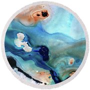 Round Beach Towel featuring the painting Contemporary Abstract Art - The Flood - Sharon Cummings by Sharon Cummings