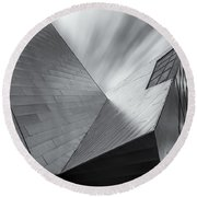 Round Beach Towel featuring the photograph Contemporary Architecture Of The Shops At Crystals, Aria, Las Ve by Adam Romanowicz
