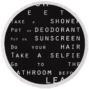 Contemporary Bathroom Rules - Subway Sign Round Beach Towel