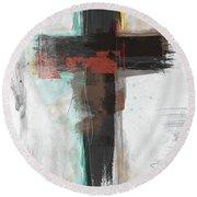 Contemporary Cross 1- Art By Linda Woods Round Beach Towel