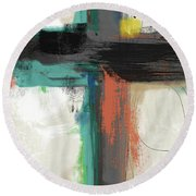 Contemporary Cross 2- Art By Linda Woods Round Beach Towel