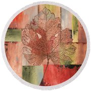 Contemporary Grape Leaf Round Beach Towel
