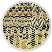 Round Beach Towel featuring the digital art Contemporary Kuba Cloth by Vagabond Folk Art - Virginia Vivier