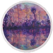 Contemporary Nature Painting Tropical Lake Sunset Round Beach Towel
