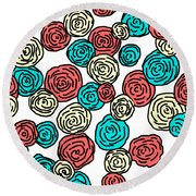 Contemporary Peonies Round Beach Towel