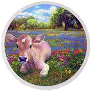 Contented Cow In Colorful Meadow Round Beach Towel