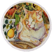 Contentment Round Beach Towel by Bob Coonts