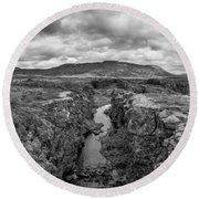 Continental Divide Panorama In Iceland Bw Round Beach Towel