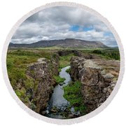 Continental Divide Panorama In Iceland Round Beach Towel