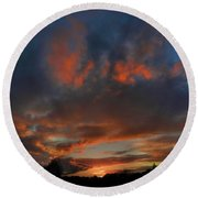 Contorted Sunset Round Beach Towel