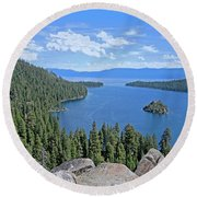 Round Beach Towel featuring the photograph Contours Of The Sacred Land by Lynda Lehmann