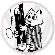 Contra Bassoon Cat Round Beach Towel