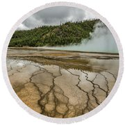 Round Beach Towel featuring the photograph Contrasts At Midway Geyser Basin by Sue Smith